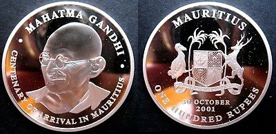 Rare 2001 Mauritius Large 44mm 1+ OZ Silver Proof 100 Rupees-Mahatma Gandhi