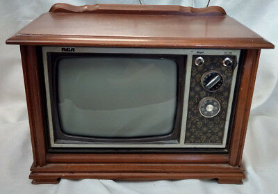 "Rare RCA Portable Console Mini Television TV 9"" VTG B&W Wood Grain Case Early"