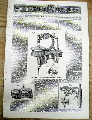 1876 Scientific American newspaper EARLY INVENTION ofThe SEWING MACHINE Du Laney