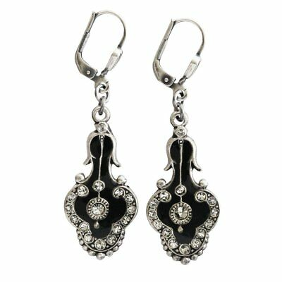 fe420f946 CATHERINE POPESCO La Vie Parisienne France Vintage BLACK ENAMEL Crystal  Earrings