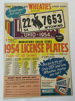 1954 Wheaties LICENSE PLATES premiums ad page ~ Wyoming, Ohio