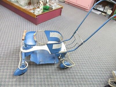 Vintage Taylor Tot P55 blue Metal Wood Baby Stroller Walker 1951 original RETRO