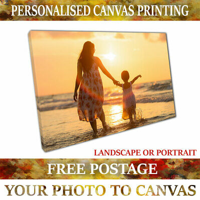 Personalised Framed Photo Canvas Print Custom Printing READY TO HANG A4 A3 A2 A1
