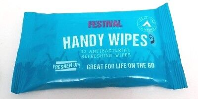FESTIVAL Cleansing WIPES Antibacterial Refresh HANDY Camping Hiking 10 in A PACK