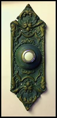 Vintage Antique Brass Victorian Gothic Styled Doorbell w/Lighted Push Button