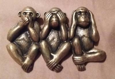 Vtg Gold Tone Monkey Hear No Evil Speak No Evil See No Evil Pin Brooch Jewelry