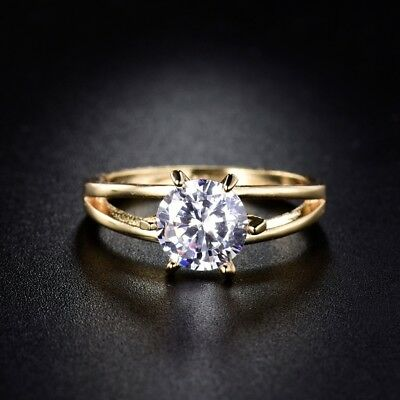 18k Gold Filled Round Solitaire Sapphire Crystal Promise Women Wedding Ring #5-9