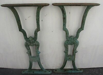 "SUPER PAIR ANTIQUE CAST IRON BENCH TABLE LEGS IN OLD GREEN PAINT 22 1/4"" high  A"