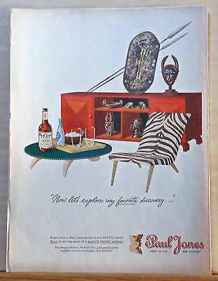 1946 magazine ad for Paul Jones Whisky - African Tribal art, Now Let's Explore