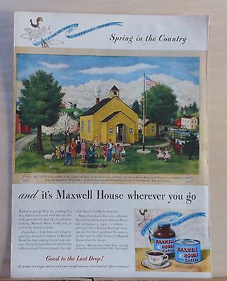 1946 magazine ad for Maxwell House Coffee - Arbor Day by Doris Lee, Spring theme
