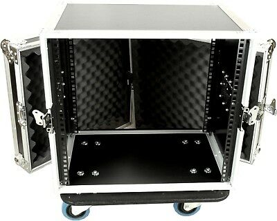 """Case To Go 10RU Effects 19"""" rack mount case with castors"""