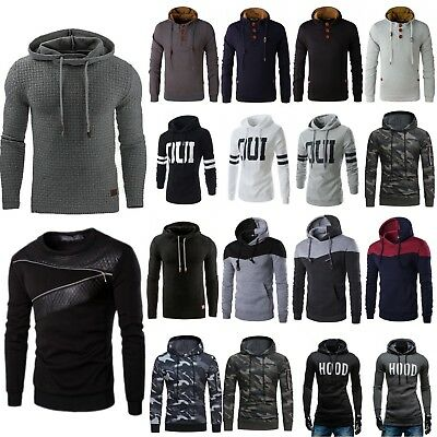Mens Winter Camo Hooded Sweater Warm Sweatshirt Jacket Coat Slim Jumper Pullover