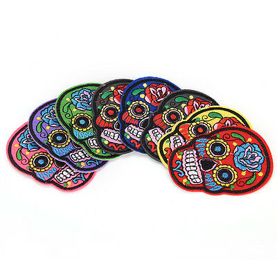 8Pcs iron on patches for clothes sew-on embroidered patch applique rose skull FG