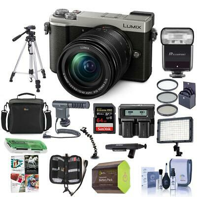 Panasonic Lumix DC-GX9 Mirrorless Camera with 12-60mm Lens Silvr And Pro Acc Kit