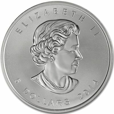 CANADA $5 Dollars 2014 (MAPLE LEAF) SILVER 1oz coin (.9999) NEW IN CAPSULE