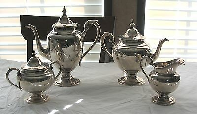 Gorham Puritan Sterling Silver 4 Pc Tea / Coffee Pot Creamer & Sugar Bowl Set