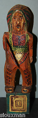 Vintage Wooden Carved Indian Chief holding a spear?,  beautiful-carved-painted