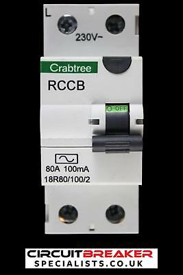 CRABTREE 80 AMP 100mA DOUBLE POLE RCCB RCD 18R80/100/2