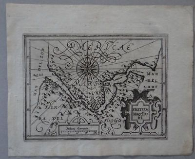 America - Straites of Magellan copper map Mercator Hondius 1609 - Atlas Minor