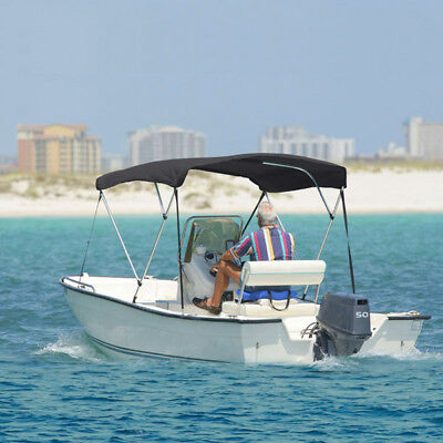 """3 BOW BOAT BIMINI TOP KIT GREY 6FT COVER WITH HARDWARE 6' L x 46"""" H x 91""""-96"""" W"""