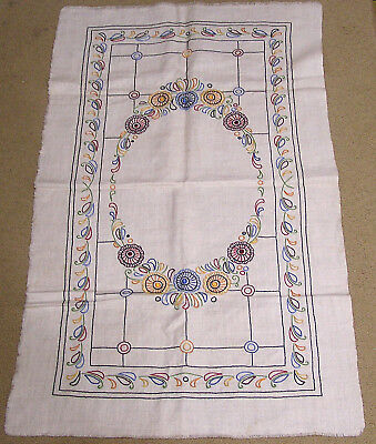 Vintage Embroidered Needlework Table Cover on Linen Arts & Crafts Floral