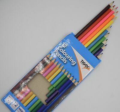 New 12 Round Colouring Pencils High Quality Break Resistant Tiger