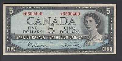 1954  $5 Dollars - Beattie Rasminsky - Prefix L/X - Bank of Canada - B879