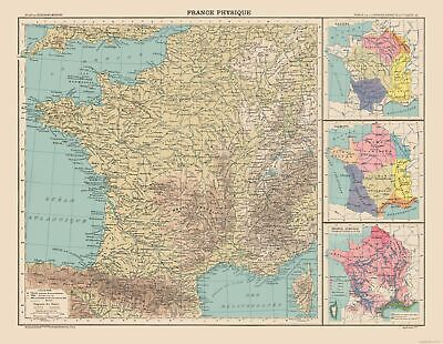Physical Map France - Schrader 1908 - 29.64 x 23
