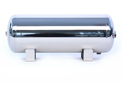 3 Gallon Polished Stainless Steel 5-Port Air Reservoir Tank with 1/2 3/8 1/4 NPT