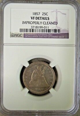 NGC VF Details 1857 25¢ Quarters Improperly Cleaned