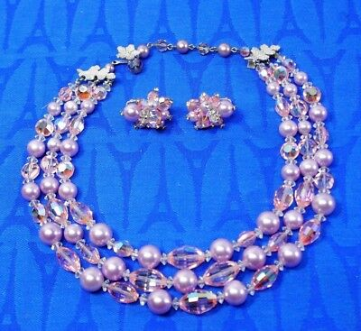 Vintage VENDOME Baroque Pearl Necklace & Earrings Pink / Violet / Purples EXC ic
