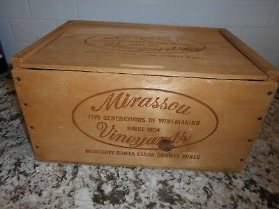 Mirassou Vineyards Since 1854 Monterey-Santa Clara Co.Wines Wood Advertising Box