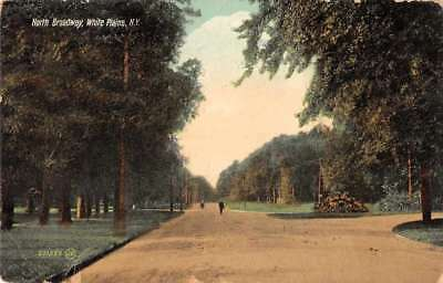 White Plains New York North Broadway Street Scene Antique Postcard J77430