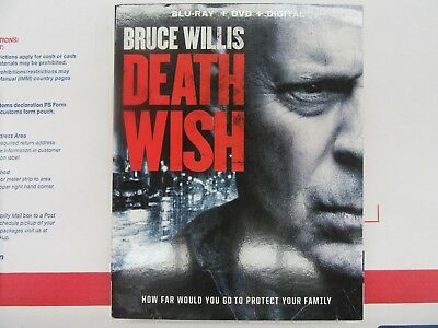 Death Wish (Blu-ray + DVD + Digital HD, 2018) Factory Sealed with Slipcover!!!