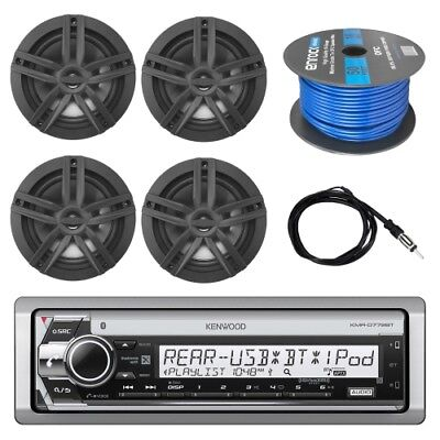 "Kenwood Marine CD Receiver, 4x Enrock 6.5"" Speakers, Antenna, 50 Ft 16-G Wire"