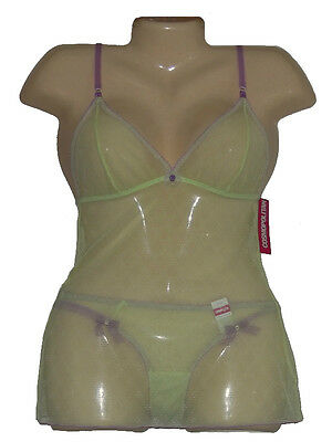 Womens Lingerie Set Sheer Cami Camisole Panties Cosmo Green Purple Size S New
