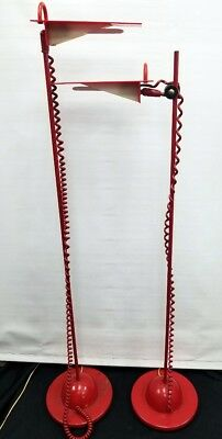 Vintage Pair Eames Mid Century Acrylic Lucite Reading Floor Lamp Red Modern 1960