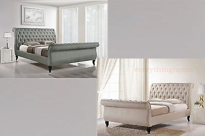 Queen Or King Beige Or Gray Button Tufted Scroll Sleigh Victorian Platform Bed