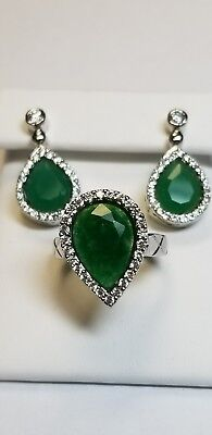 CLOSEOUT PRICE, Turkish 3 Pc Emerald and C-Z Earrings & Ring in Sterling Silver