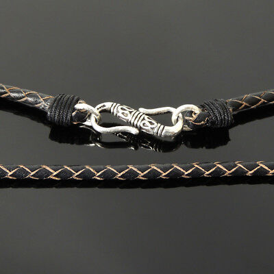 Knotted Choker Necklace Genuine Brown Leather Sterling Silver Toggle Clasp 221