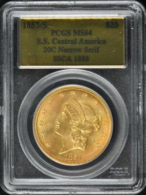 1857-S S.S. Central America Ship Wreck $20 Gold T 1 Liberty PCGS MS64 20C Nar...
