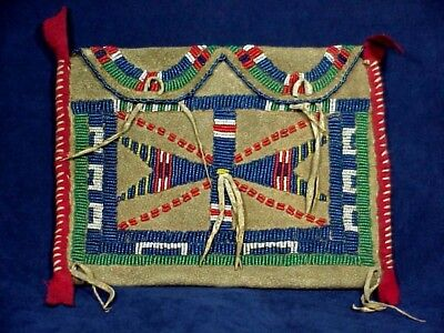 SIOUX INDIAN BEADED POUCH Belonged to American Horse Family