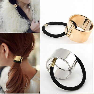 Unique Women Hair Cuff Wrap Ponytail Metal Holder Ring Tie Elastic Hair Band =TO