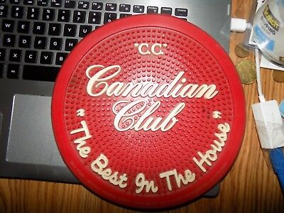 Vintage Canadian Club Rubber Bar Mat In Excellent Shape 9 Inches Across