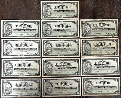 Lot of 13x 1974 Canadian Tire 5 Cents Notes - CTC-S4-B-AM