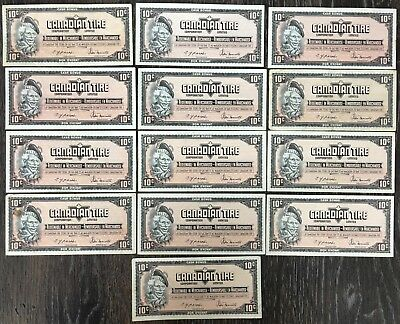 Lot of 13x 1974 Canadian Tire 10 Cents Notes - CTC-S4-C-CM