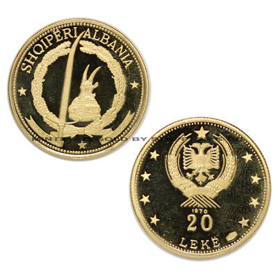 Albania 1970 Gold 20 Leke Brilliant Proof Coin KM #51.5 Low Mintage of Only 500