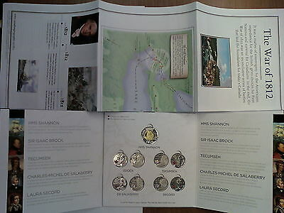 US Canada War of 1812 Map & Coin Card with Complete Set of Commemorative Coins