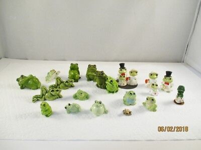 Assortment of Little Ceramic Frogs - tallest 1-1/2""
