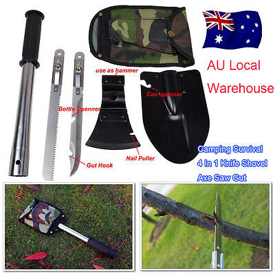 Camping Survival 4 In 1 Knife Shovel Axe Saw Gut Hiking Emergency Gear Kit Tools
